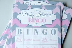 Pink + Gray Chevron Baby Shower Bingo Game + Bingo Cards + Game Pieces + 25 Cards