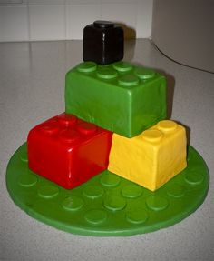lego bricks birthday cake fondant covered built