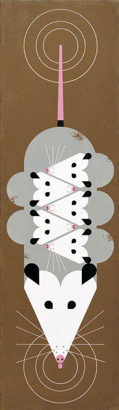 """""""A Passel Of Possums by Charley Harper""""/  gestileerde vormen:organisch wordt geometrisch"""