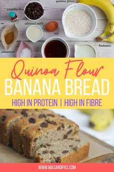 So easy to make, healthy, super soft and moist and packed full of flavour! A great way to use up overripe bananas and can be prepped in just one bowl. Includes no refined sugars. Making quinoa flour banana bread means you get a tasty snack or dessert that's also high in protein and in fiber. #bananabread #bananabreadrecipe #kidsbaking #bakingrecipe #quinoaflour Easy Baking For Kids, Baking Recipes For Kids, Dessert Recipes For Kids, Lunch Box Recipes, Baby Food Recipes, Snack Recipes, Healthy Baby Food, Healthy Snacks For Kids, Easy Snacks
