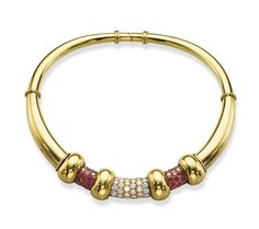 A STYLISH RETRO RUBY, GOLD AND DIAMOND CHOKER, BY RENÉ BOIVIN  Of bombé design, the front set with three brilliant-cut diamond and circular-cut ruby panels, with moveable gold rondelle spacers, to the polished gold collar, mounted in 18k gold and blackened silver, 1940s
