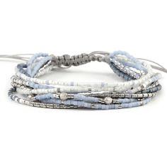 Light Blue Multi Strand Bracelet on Silver Cord - Chan Luu