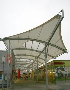 Glass architectural fabric / PTFE / for tensile structures - SHOPPING MALL - Ceno Membrane Technology GmbH
