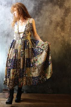 Vintage 1980s Bohemian Summer Gypsy India Patchwork Dress Sweet Florals