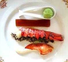 Salade de homard, gelée d'hibiscus, sorbet livèche. / Cold lobster, hibiscus aspic and wild celery sorbet.