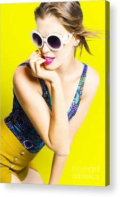 Pin Up Acrylic Print featuring the photograph Retro Yellow Fashion Portrait by Ryan Jorgensen
