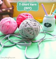DIY T-shirt yarn. Learn how to make yarn out of old t-shirts in this free tutorial.