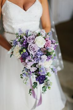 Kristan and Kirk Photo from Kristan and Kirk collection by . Kristan and Kirk Photo from Kristan and Kirk collection by Photography by Aver Cascading Bridal Bouquets, Rose Bridal Bouquet, Purple Wedding Bouquets, Spring Wedding Flowers, Bride Bouquets, Bridal Flowers, Bridesmaid Bouquet, Floral Wedding, Wedding Colors