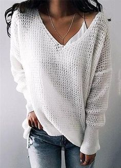 Chicnico Street Fashion Knit V Neck Solid Color Loose Sweater Loose Knit Sweaters, Summer Sweaters, Casual Sweaters, Casual Tops, Casual Shirts, Casual Outfits, Fashionable Outfits, V Neck Sweaters, Cardigans