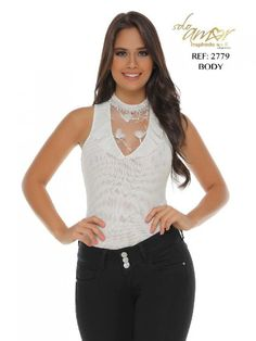 Body Moda Colombiana Solo Amor  - Ref. 246 -2779-16 SA Beige Sexy Blouse, Pants Outfit, Body, Camisole Top, Beautiful Women, Beige, Tank Tops, Jeans, Interior