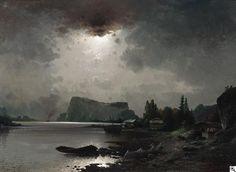 """Karl Kaufmann: """"Mondnacht an der Mosel"""" aus unserer Rubrik: Gemälde des 19. und frühen 20. Jahrhunderts"""