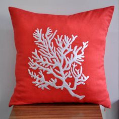White Coral  Decorative Pillow Cover  18 x 18 by KainKain on Etsy, $21.00