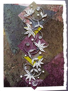 quilled card- on top of scrap paper/ litho cards?