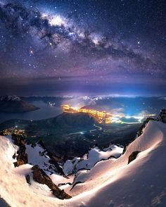 The Milky Way over Queenstown, New Zealand Photography by Pretty Pictures, Cool Photos, Beautiful World, Beautiful Places, Beautiful Scenery, Wonderful Places, Landscape Photography, Nature Photography, Milky Way