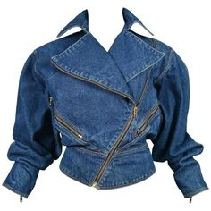 Alaia Denim Zipper Jacket 1986 ($925) ❤ liked on Polyvore featuring outerwear, jackets, blue jean jacket, vintage denim jacket, zipper jacket, denim jacket and zip jacket