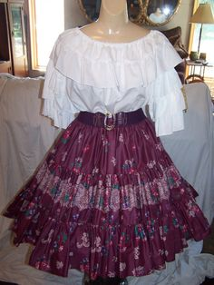 Border tiered square dance skirt on Etsy, $39.95