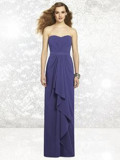 Dessy Social Bridesmaids 8132 Dress.  This strapless full-length Nu-Georgette gown is gloriously gorgeous. The figure hugging bodice is charmingly accented with a pleated detail and features a sweetheart neckline. A Matte Satin belt cinches the waistline and encircles the smooth semi-open back. The long flowing skirt is gloriously embellished with a cascading ruffle that adds romantic appeal.