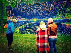 Backdrop Terraforming Psychedelic Deco Wandbehang 1,5m x 3,5m Hippie Goa Tuch UV