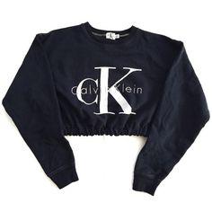 Vintage Reworked CK Crop Sweatshirt ($60) ❤ liked on Polyvore featuring tops, hoodies, sweatshirts, crop top, sweaters, jumpers, vintage sweatshirt, sweat shirts, vintage tops and vintage sweat shirts