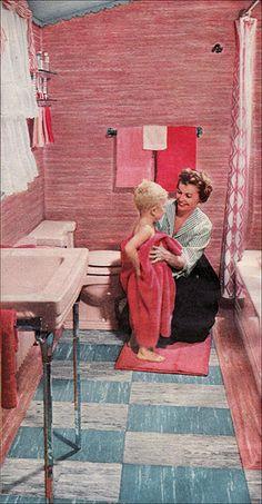 1954 Goodyear Vinyl Tile Bathroom