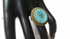 This special ring has a centerpiece made of aqua rhinestones and a firepolished glass bead. The bronze ring is adjustable and weighs about The size of the centerpiece is about in diameter. Diy Jewelry Rings, Diy Rings, Faux Granite, Bronze Ring, Glass Beads, Aqua, Glitter, Etsy Shop, Metal