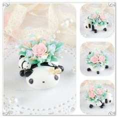 Vintage Panda Garden Polymer clay Polymer Clay Kawaii, Polymer Clay Creations, Have A Great Day, Pet Birds, Panda, Artist, Handmade, Crafts, Garden