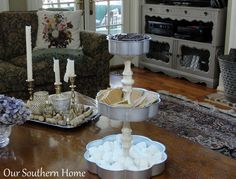 S'mores Station... make with thrift store candle sticks & trays or cake pans held together with E6000