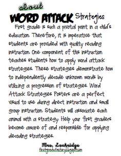 Word Attack strategies | Elem. classroom Anchor Chart ideas ...