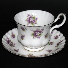 """Royal Albert """"Sweet Violet"""" Teacup and Saucer... Grammie started me on this china pattern long long ago... I must have been 10 years old..."""