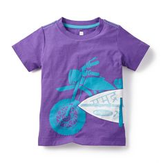 Tea SS15 MotoSurf Graphic Tee in tanzanite | In India, it's not at all uncommon to see many people zipping around on scooters, often carrying cargo that's bigger than their bikes! The graphic on this tee incorporates two popular Indian activities - scooting and surfing. - $22.50