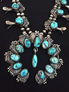 VINTAGE-Old-Pawn-Navajo-Sterling-Silver-Turquoise-Squash-Blossom-Necklace