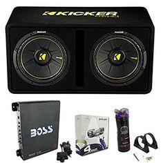 "Amp Kicker 600 Watt 12/"" Subwoofers + Sealed Box Enclosure Pair Wiring Kit"