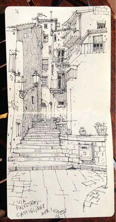 "ILLUSTRATOR: Ian McQue ~ ""Via Palestro, Castigliane"""