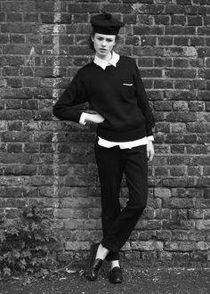 Margaret Howell  by Jason Hetherington (model) hat +polo/top + sweater + pants + shoes (style - preppy; collar & sweater & top/polo)