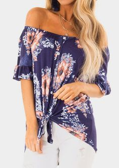Floral Ruffled Off Shoulder Blouse without Necklace - Multicolor - Streetwear Fashion Cute Blouses, Blouses For Women, Women's Blouses, Off Shoulder Blouse, Off The Shoulder, Shoulder Tops, Knotted Shirt, Blouse Online, Pop Fashion