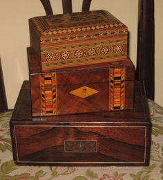 Antique inlaid boxes.  A weakness of mine.