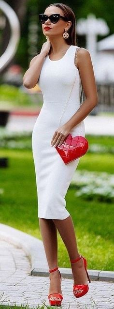 #summer #chic #feminine #style | White + Pop Of Red maybe not the bag..