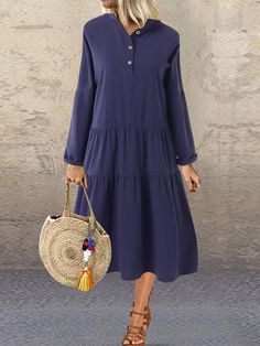 Plus Size Solid color Loose Long Sleeve Casual Dress Plus Size Vintage Dresses, Plus Size Womens Clothing, Plus Size Dresses, Clothes For Women, Vestido Casual, Ideias Fashion, Shirt Dress, Long Sleeve, Sleeves