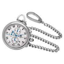 Charles-Hubert, Paris Stainless Steel Quartz Pocket Watch