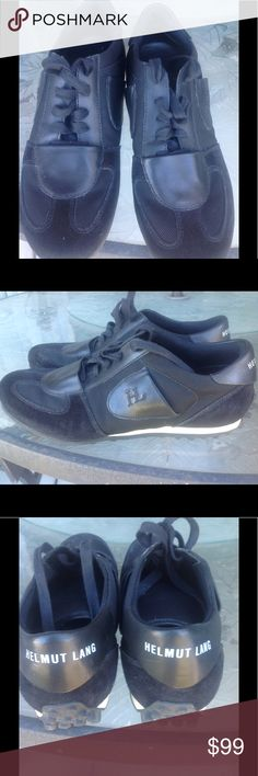 Helmut Lang Mens suede and leather sneakers Unisex authentic and rare helmut Lang Mens black suede and leather sneakers with iconic logout sides and large script at back of heels Mens size 6 will also fit women's size 9. Helmut Lang Shoes Sneakers