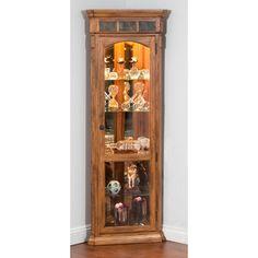 Sunny Designs Sedona Corner Curio Cabinet   Rustic Oak   2513RO
