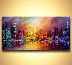 Ville ORIGINAL peinture acrylique couteau moderne abstrait peinture de la ville de Osnat 48 « x 24 » grand #abstractart