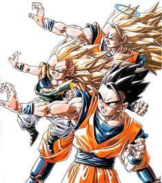 Super Saiyan 3 Goku, Gotenks, and ultimate Gohan