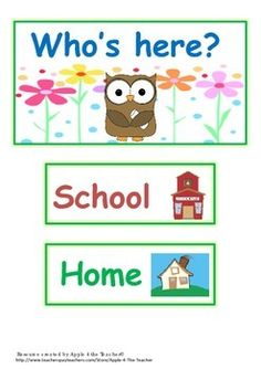 Home :: Subjects :: Professional Development :: Classroom Poster / Display :: Who's here owl attendance chart Preschool Attendance Ideas, Attendance Board, Classroom Attendance, Preschool Jobs, Preschool Labels, Preschool Charts, Owl Theme Classroom, Classroom Jobs, Free Preschool