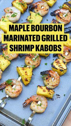Cooked Shrimp Recipes, Kabob Recipes, Seafood Recipes, Shrimp Dinner Recipes, Healthy Shrimp Tacos, Healthy Grilled Chicken Recipes, Dinner Party Recipes, Marinated Grilled Shrimp, Grilled Broccoli