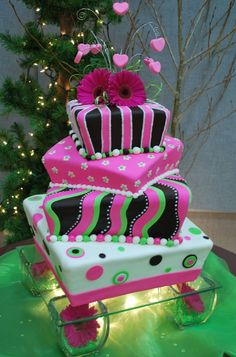 hot pink lime green wedding cake   sometimes called a mad hatter cake this cake is actually hot