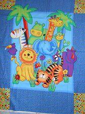 `Fabric 1 Baby Quilt Top Panel Rainbow Hippo Giraffe Monkey Rhino Lion Zebra