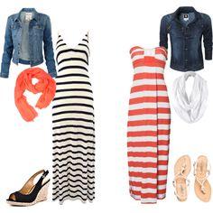 Denim jacket + maxi dress + scarf + pretty sandals