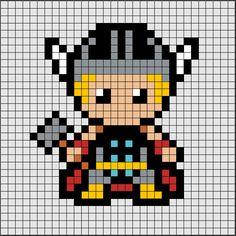 Patrón de Hama Beads Midi de Thor, nuestro superhéroe favorito de los Vengadores ⚒🔨⚒.  Si quieres saber como se hace, ya sea en Hama Beads o Pixel Hobby, haz click en el enlace. Perler Bead Art, Perler Beads, Pixel Art Marvel, Pixel Art Super Heros, Cross Stitch Designs, Cross Stitch Patterns, Image Pixel Art, Marvel Cross Stitch, Thor