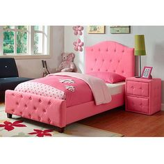 "Add some style to your child's room with this twin bed that is tufted with buttons in a silk-like pink fabric. Twin size bed (assembled): 80""L x 41.5""W x 47""H. Box spring required."